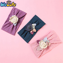 Wecute New Baby Girl Headbands Child Kids Stitching Flower Nylon Wide Hair Band Inflant Toddler Headwear Bandeau Bebe Fille