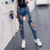 GALCAUR Jeans For Women High Waist Sashes Ripped Hole Irregual Patchwork Demin Pants Female Korean Fashion 2019 Spring New