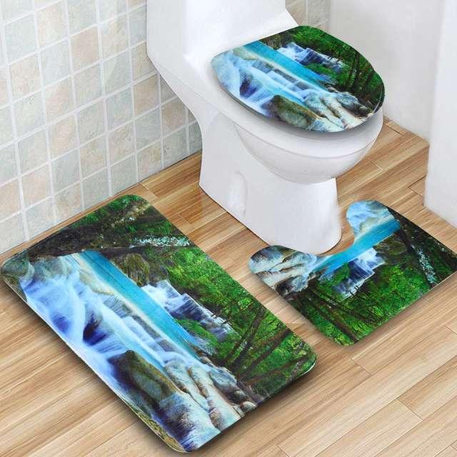 3D Waterfall Scenery Waterproof Shower Curtain 2