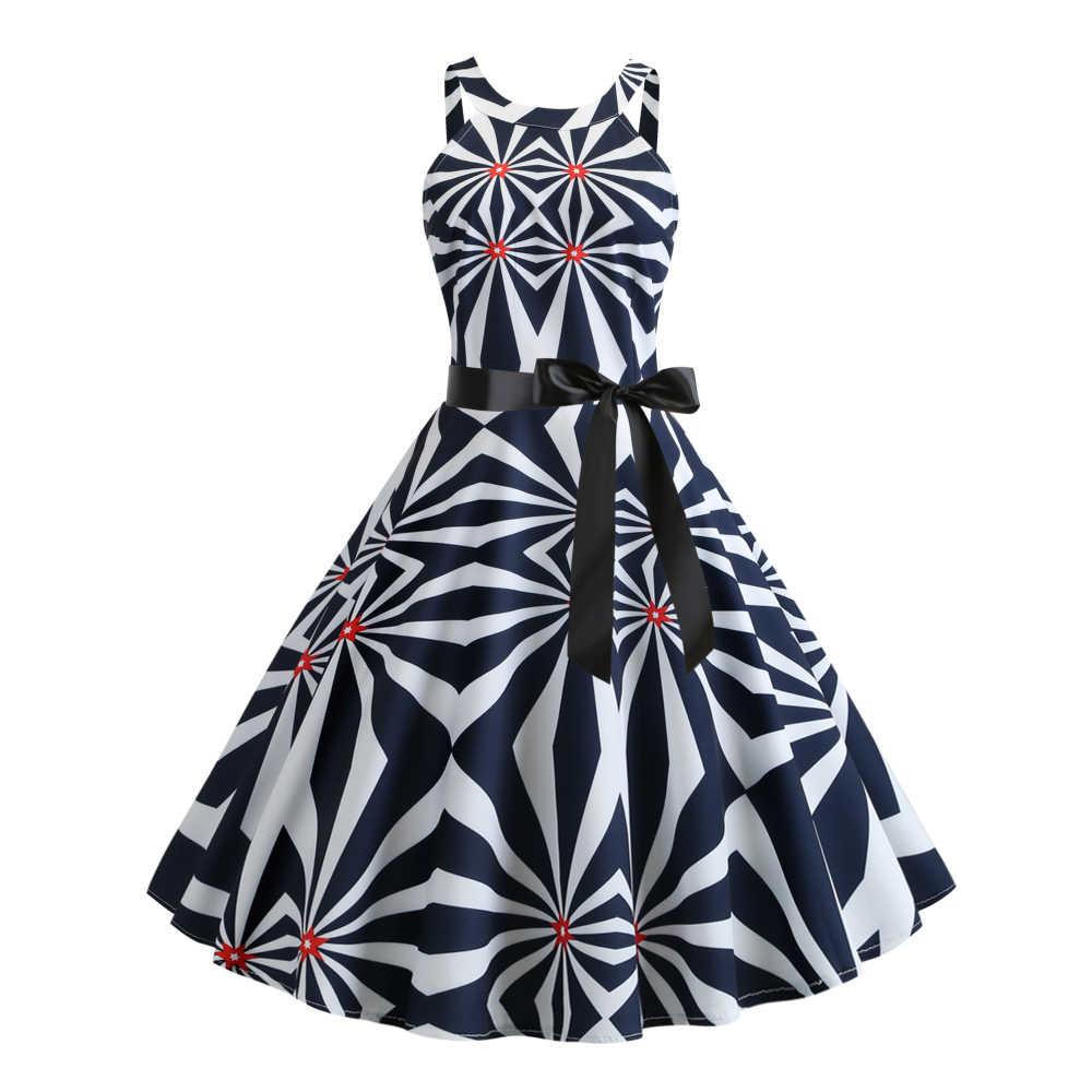 Joineles/летнее женское ретро платье с принтом фруктов и бабочек, с круглым вырезом, без рукавов, из хлопка, винтажное платье, вечерние платья