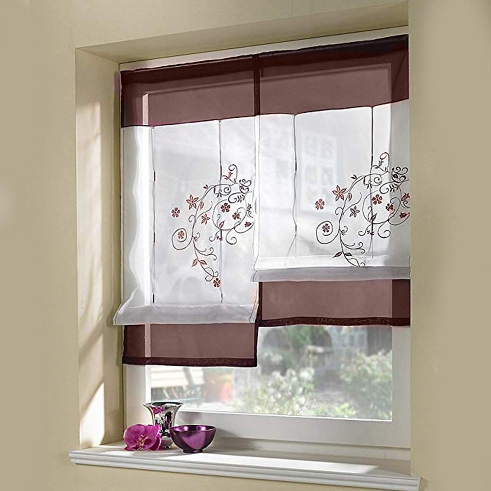 Curtains Roman Kitchen Curtains Floral Blinds Short: 2019 New Roman Blinds Short Kitchen Curtains Solid Color