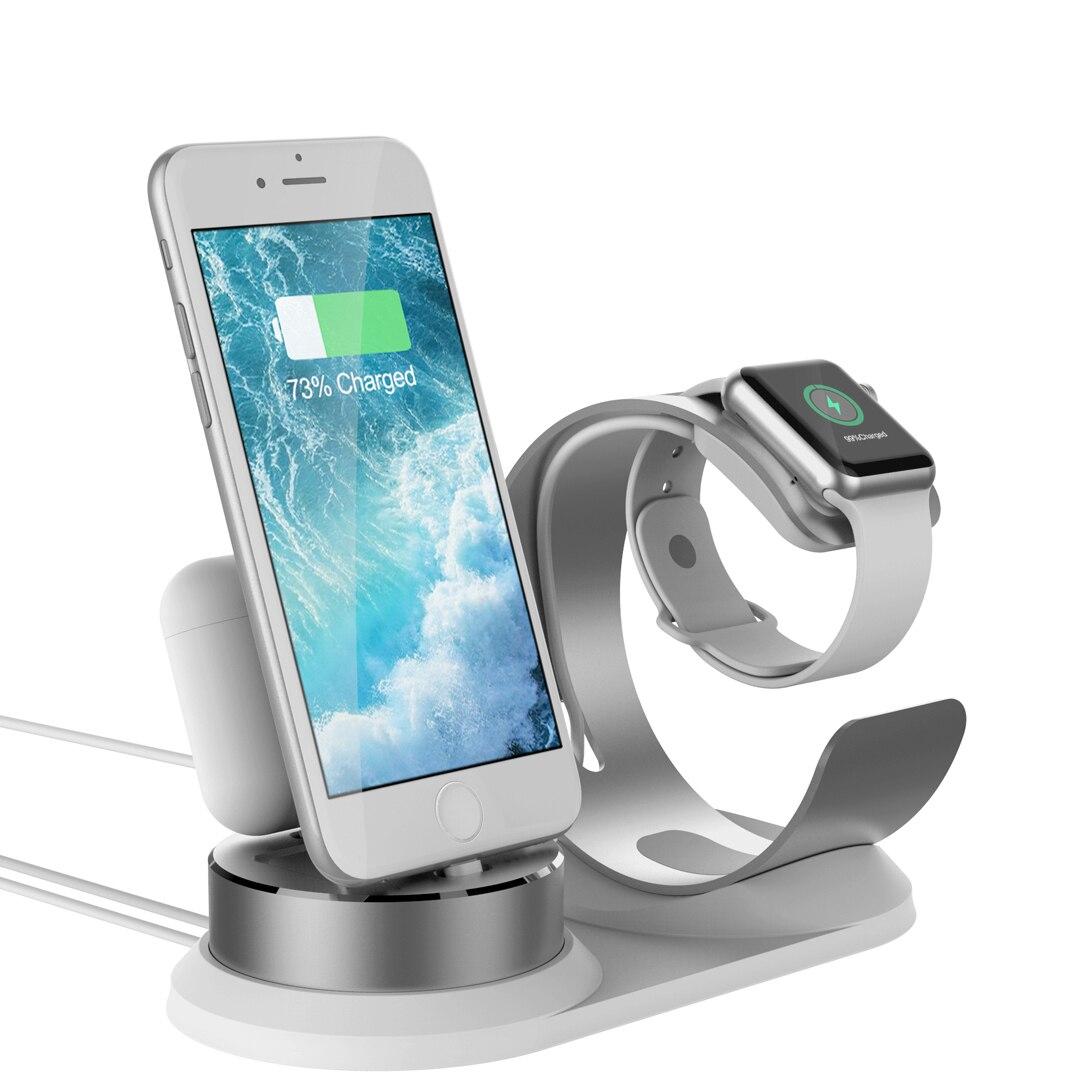 3 dans 1 Chargeur Dock Station Support de Téléphone Pour Apple Montre Stand En Aluminium Support De Charge Pour iPhone x/8 p/7 s/6SP/5SE pour Airpods