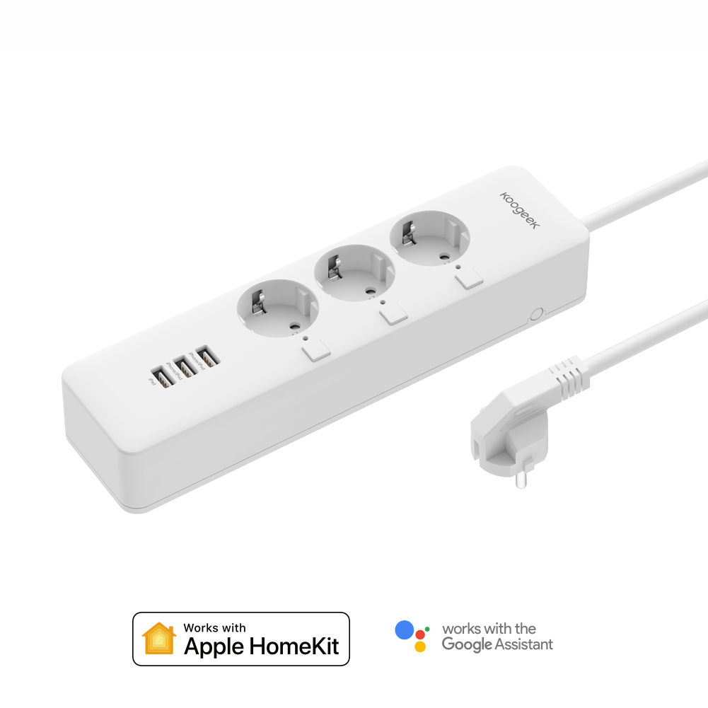 Koogeek Smart Outlet Individually Controlled Wi Fi Outlet Power Strip with 3 USB Charging Ports for