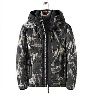 Image 4 - Streetwear kamuflaż kurtka zimowa mężczyźni z kapturem dorywczo mężczyzna płaszcz z kapturem Camo grube ciepłe męskie znosić