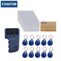 Handheld 125 khz em4100 rfid copiadora/escritor/duplicador (t5557/t5577/em4305) livre 10 pces chaveiros graváveis e 10 pces cartões