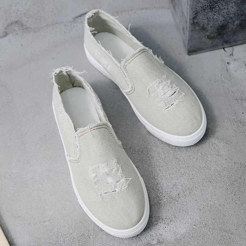 Kadın Flats 2019 Yaz Kadın kanvas ayakkabılar bağcıksız ayakkabı için kadın loafer'lar zapatos de mujer Boyutu 35-43