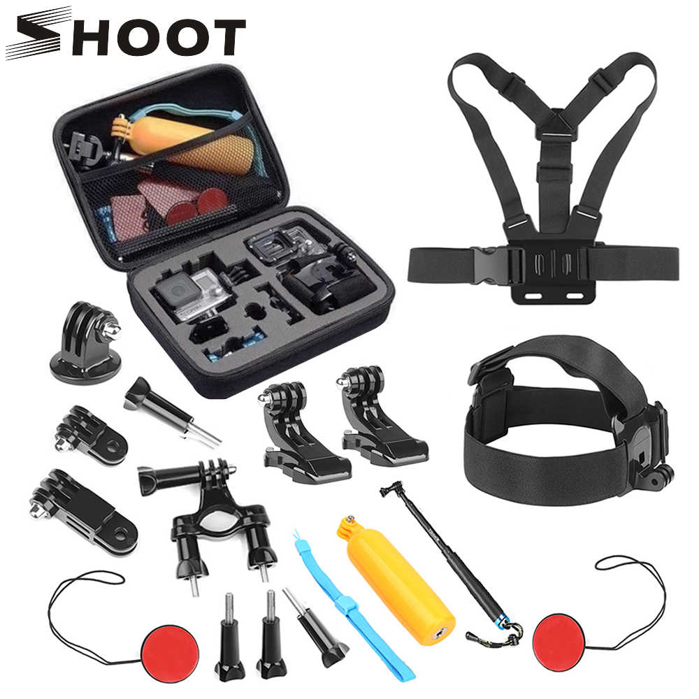 SHOOT Action Camera Selfie Accessories Set for GoPro Hero 8 5 7 Black 4 Sjcam Sj4000 Xiaomi Yi 4K Monopod Head Chest Strap Mount