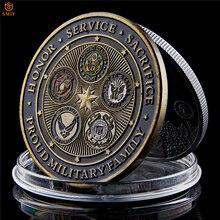 Американская горда, военная семья, пять армии, служа по всему миру с гордыней, США, военная сила, Орел, металлическая наградная монета, коллекционная
