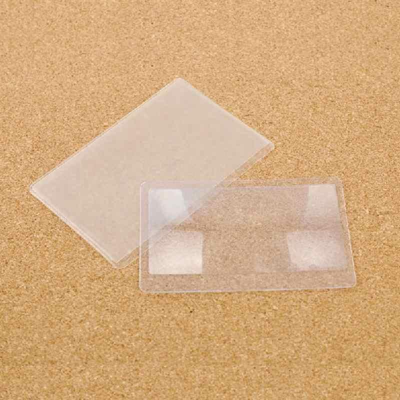1 ピース 8.5*5.5 センチメートル 3 × 拡大鏡倍率拡大鏡フレネルレンズポケットクレジットカードサイズ透明拡大鏡ガラスツール