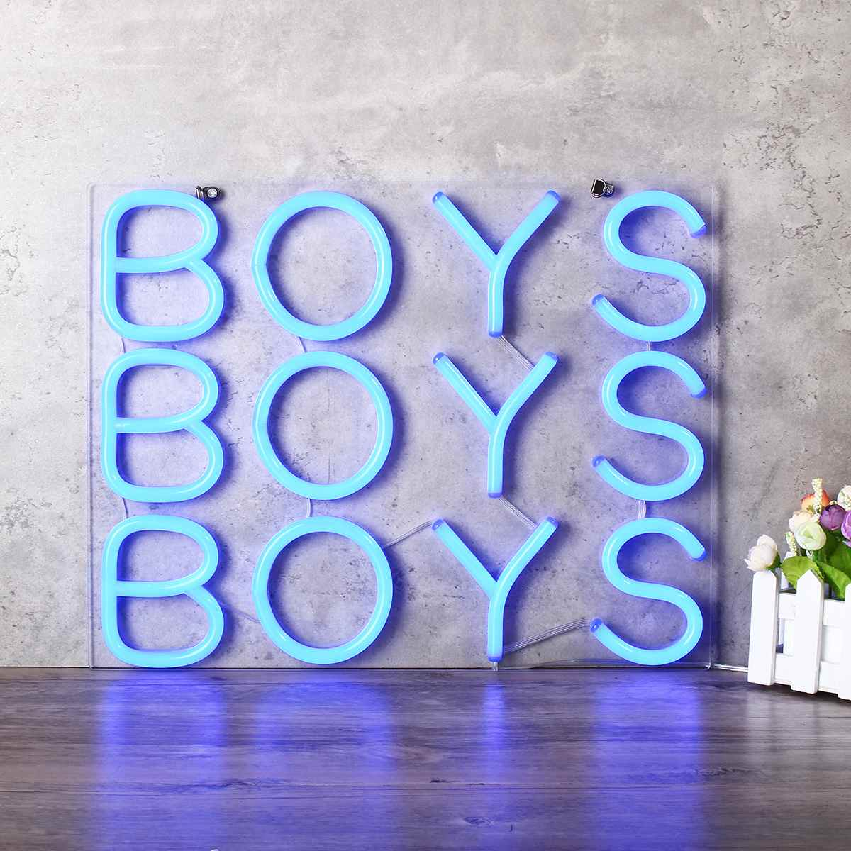 Blue BOYS Neon Sign LED Light Beer Bar Pub Party Decoration Home Room Wall Ornaments Gifts 25x25cm US Plug