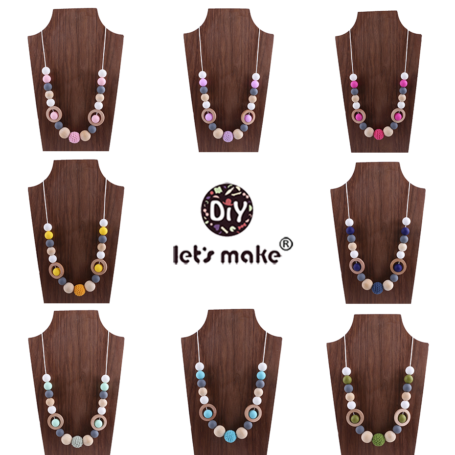 Let 39 s Make Silicone Beads Crochet Beads Wooden Teether DIY Bracelet And Necklace Nursing Baby Products Chew Toys Baby Teether in Baby Teethers from Mother amp Kids