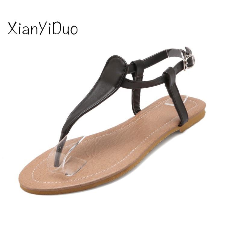 Xianyiduo 52 negro 2019 Plus Size34 Tacón Baratos China Productos Planos Verano Hebilla blanco Beige Correa Moda Blanco Mujer Beige Zapatos F191 De Sandalias AqZrwA