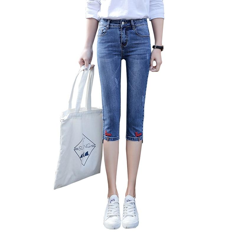 Summer Short Jeans Womens Plus Size Skinny Capris Jeans Denim Knee Length Shorts Female Stretch Denim Shorts Embroidered Jeans