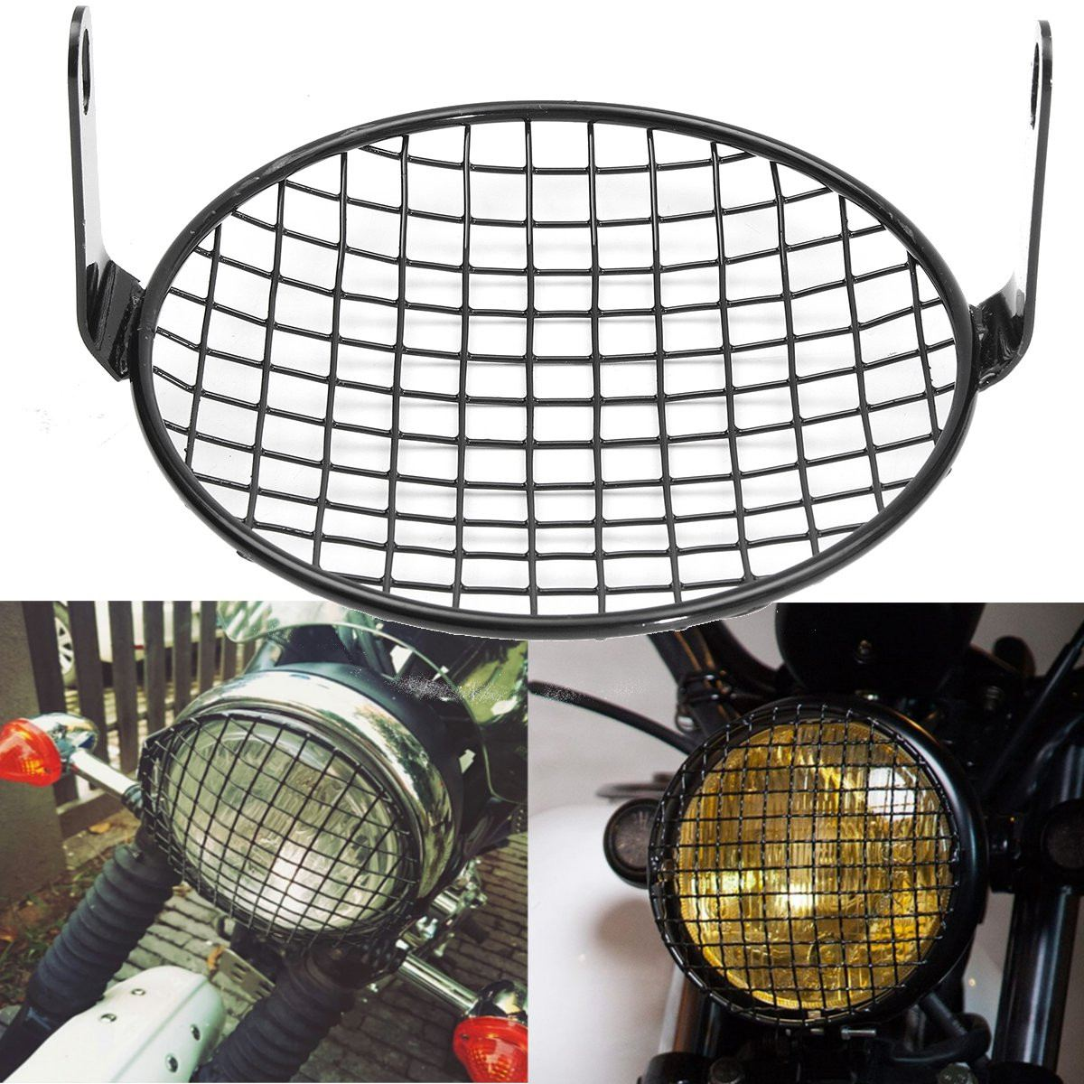 6.4 Inch Front Motorcycle Headlight Mesh Grill Mask Steel Retro Head Lamp Cover Mount Protector Guard For Honda For Bobber CB