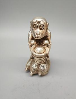 Chinese  white copper yuanbao monkey statue