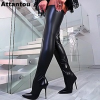 Runway Patent Soft Leather Stretch Fabric Women Over the Knee Crotch Long Boot High Heeled Designer Pointed Toe Thigh High Boots