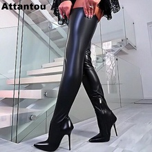 Runway Stretch Fabric Women Over the Knee High Heel Long Boot Ladies Crotch Pointed Toe Heeled Designer Thigh High Boots