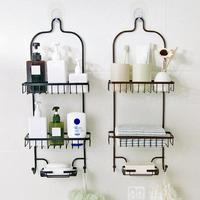 Bathroom Punch free Racks Bathroom Wrought Iron Storage Kitchen Three layer Rack Wall Mounted Storage Basket