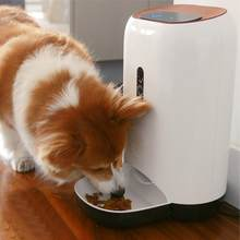 White Pet Dog automatic feeder Cat Food Dispenser Timing feeder Infrared Night Vision Intelligent Feeder 100-240V US Plug(China)