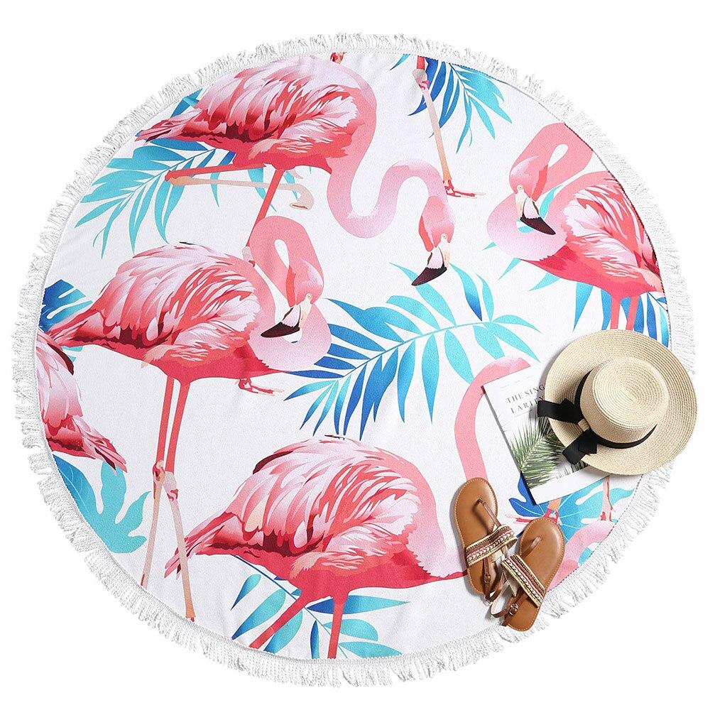Flamingo Print Strandlaken Ronde Strandlaken Polyester Diameter 150 Cm Voor Vrouwen Verlichten Van Warmte En Zonnesteek