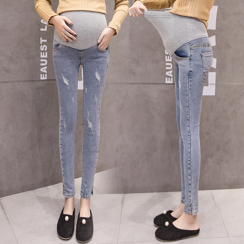Long Maternity Jeans Skinny Stretch Pregnancy Jeans For Pregnant Women Ripped Expander Maternity Jeans Under Belly Pencil Pants