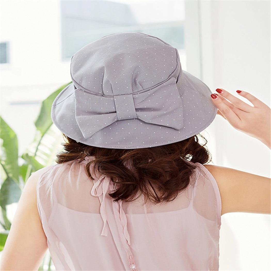10 Stile Outdoor Fischer Sonnenschutz Klapp Angeln Hut Mädchen Sommer Einfarbig Und Dot Muster Eimer Hüte Bogen-knoten Kappe