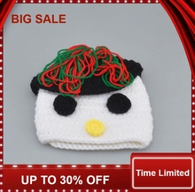 new Snowman Baby Crochet Hat Beanie Hand knitted Infant Kids Winter Earflap Hat Photography Props