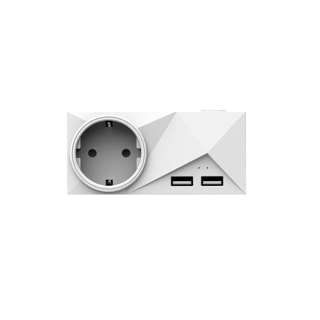 Wifi Smart Plug Mini Dual Outlets 2 USB Ports Smart Socket with Energy Monitoring & Timing Function,Voice Control Compatible