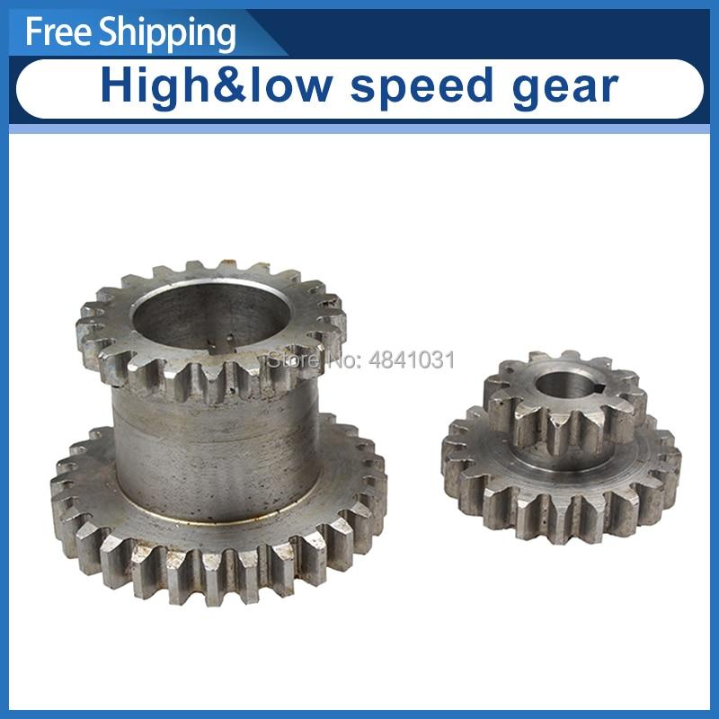 2pcs High low Metal Transmission speed gear CJ0618 Teeth T29xT21 T20xT12 metal gears Lathe Main shaft