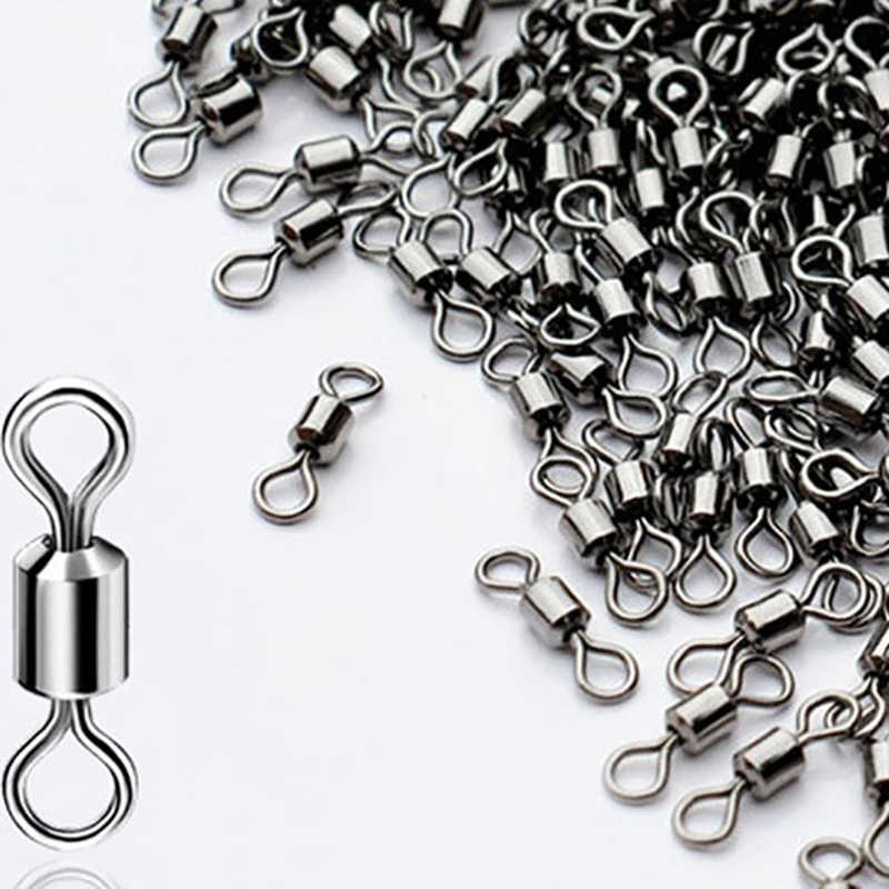 Black Fishing Ball Bearing Swivel Solid Rings Stainless Steel Accessor 0#~10#