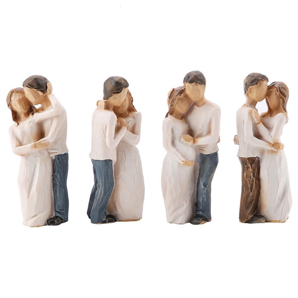 4pcs Couples Shape Resin Figurine Decoration Statue Model