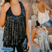 Summer Women Tank Tops 2019 New Sexy U Neck Sleeveless Sequined Loose Size S-XXL