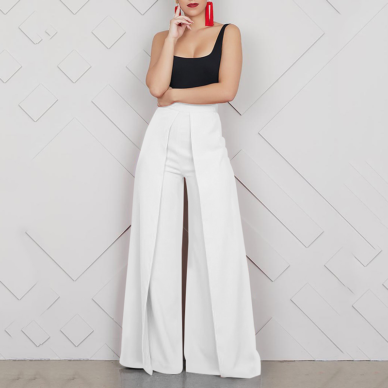Women Wild Leg Pants Solid Color Splicing High Waist Casual Loose Pants Baggy Zipper Trousers Party Wear Streetwear Pantalon