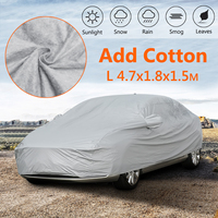 470X180X150cm Universal L Full Car Cover Cotton Waterproof Breathable UV Rain Frost Snow Protection Dust Proof Outdoor