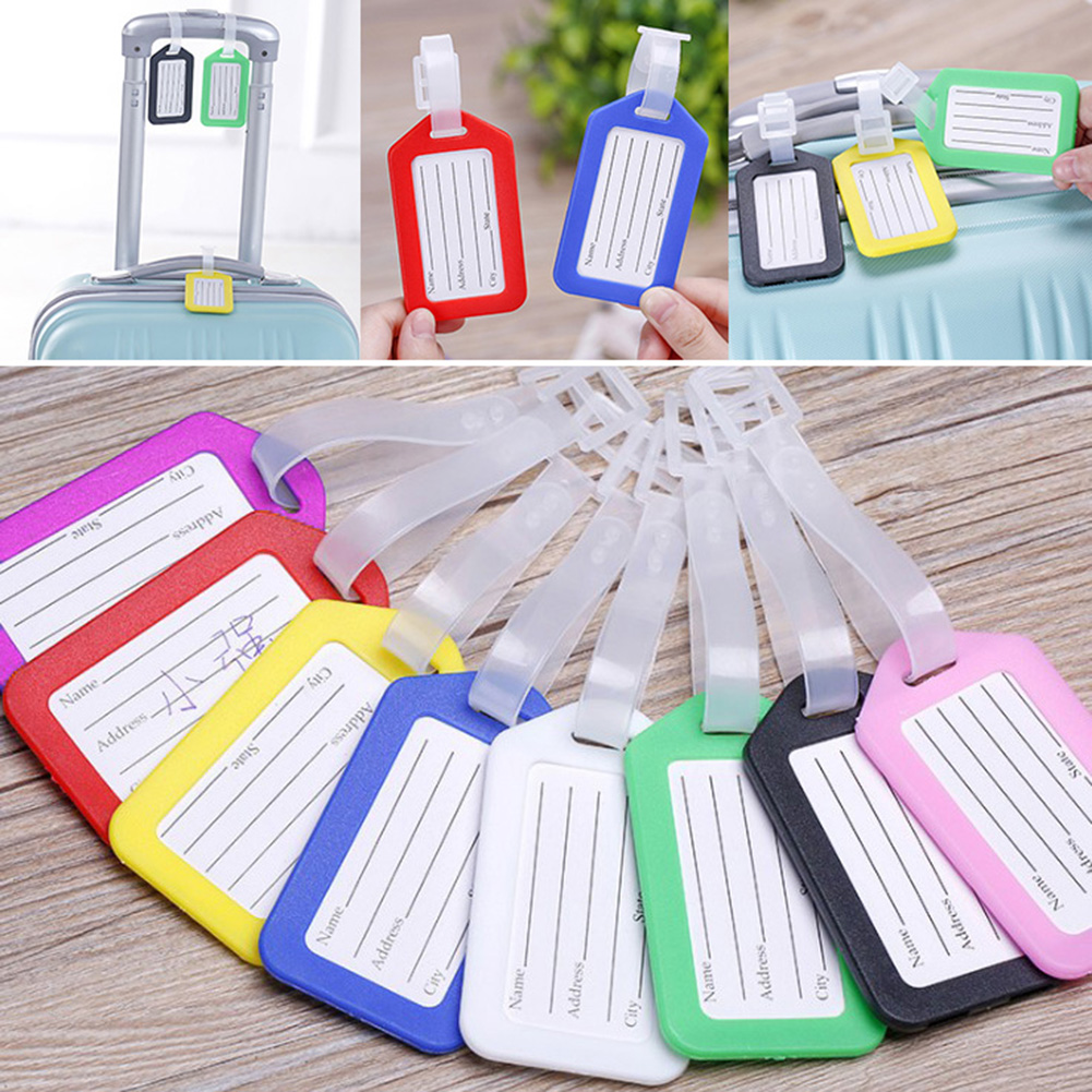 Travel Suitcase Bag Boarding Tag Label Name ID Plastic Luggage Tag Candy Color