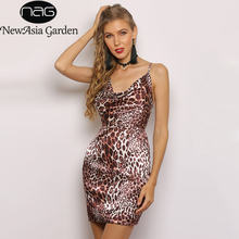 NewAsia 2 Layers Leopard Printed Sexy Dress Women 2019 Summer Bodycon Satin  Mini Dress Vintage Animal bbd47a56cd1a