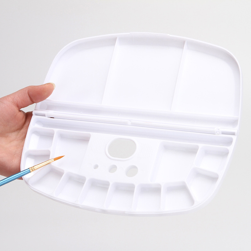 Clamshell Oval Plastic Palette Multi-function Artist Acrylic Watercolor Painting Palette Drawing Tool School Art Supplies