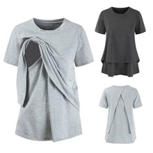 ENXI Summer Breast Feeding Tops Tees Maternity Nursing Clothes Pregnant Women Breastfeeding T-shirt Premama Wear Clothing
