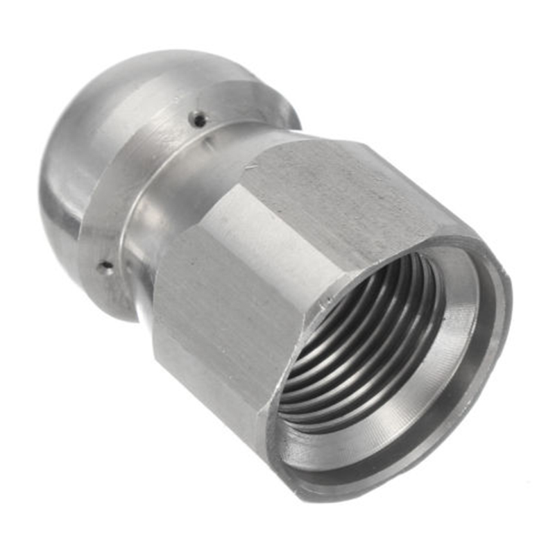 1/4 Inch Pressure Washer Drain Sewer Cleaning Female Nozzle Jet Hole 1 Forward 3 Rear Spray High Quality Stainless Steel 17mm OD