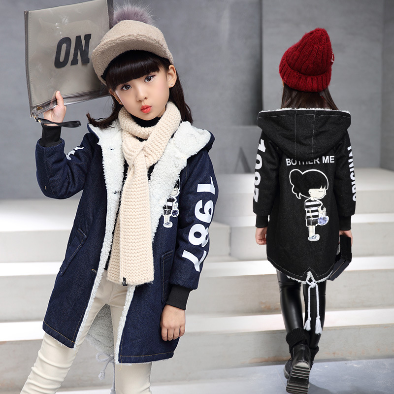Girls clothes 2019 winter new cartoon hooded plus velvet thick denim jacket 4-12 years long-sleeved children's clothing