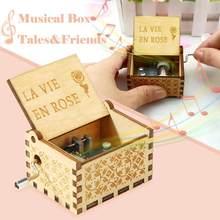 Caja de música de Luna y Río tallado antiguo, regalo de cumpleaños, decoración de boda rosa, temática de bebé Digital