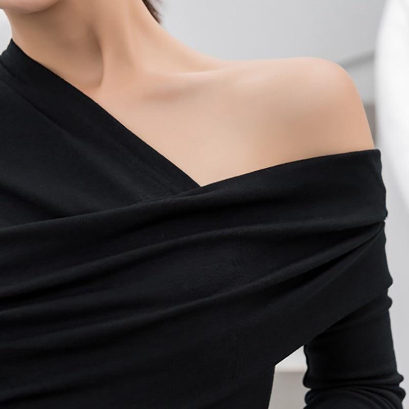 TWOTWINSTYLE Sexy Off Shoulder asymetryczne damskie t-shirty topy kobieta Slim z długim rękawem moda czarna koszulka jesień 2019 6
