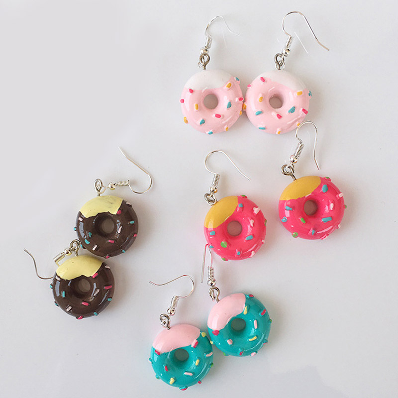 Hot Sale Fashion Candy Color Donuts Jewelry Melaleuca cake 1Pair Valentines Gift Lovely Cute Cartoon Cake Handmade Drop Earrings