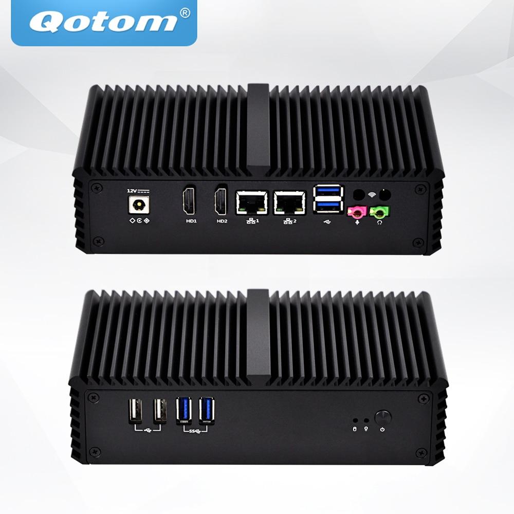 Qotom Mini PC Q301P Q305P Celeron 2955U/3205U Processor,Dual Lan, 6*USB RS232 RS485 VGA 15W Fanless Barebones IPC POS Computer
