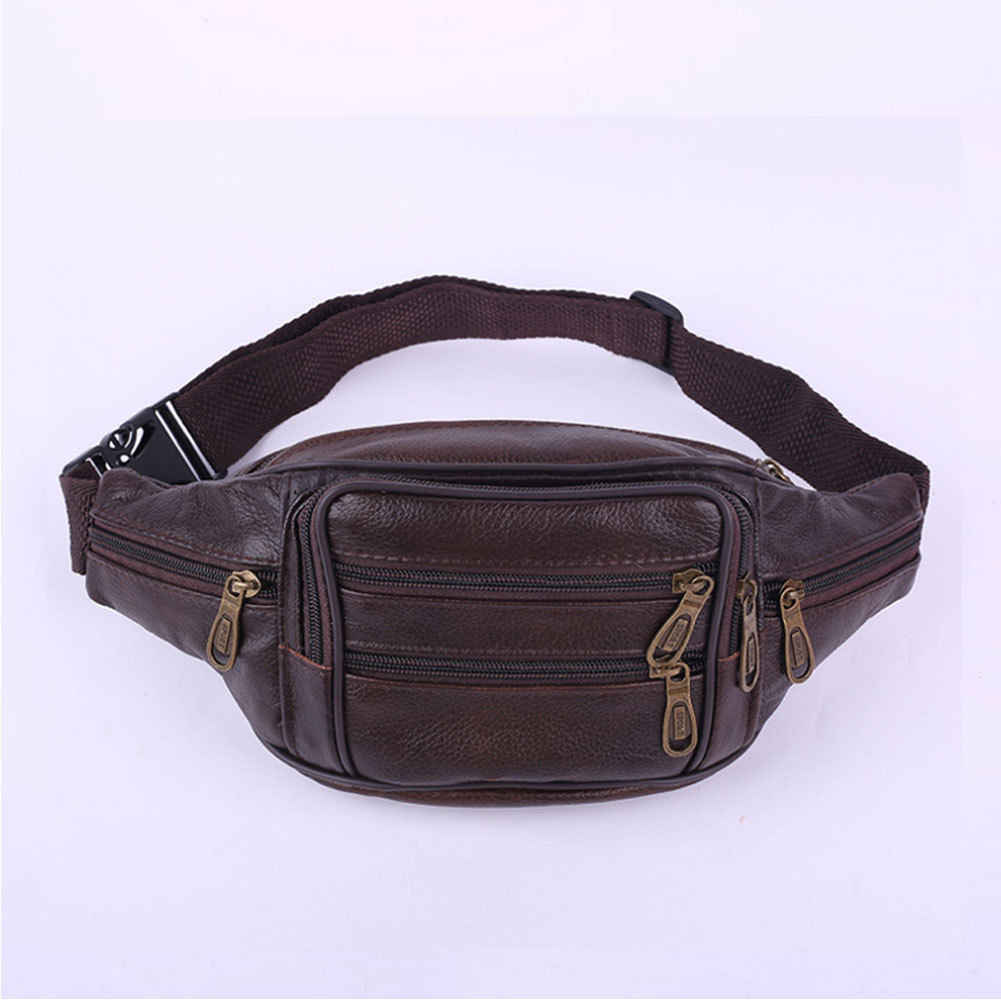 fc12a6e4156e 2018 New Style Fashion Black Leather Fanny Pack Men s Waist Belt Bag Women s  Solid Zipper Hip