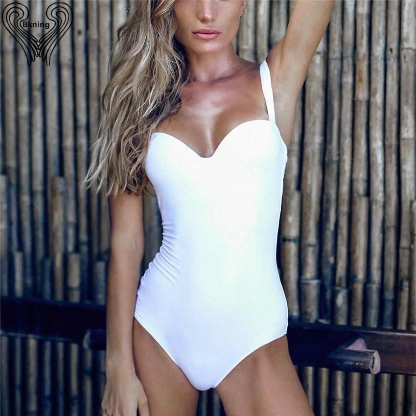 novel style special price for women Wired Push Up Swimsuit One Piece Swim Wear Badpak 2019 Summer 1 Piece  Monokini Black White Bathing Suit Conservative Bathsuit