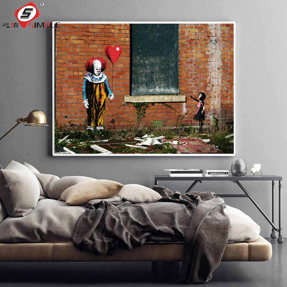 Simple banksy street art painting graffiti poster clown with