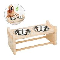 Pet Feeding Double Bowl Solid Wooden Dining Dish Rack Stainless Steel Bowl With Cat Frog Shapes For Dog