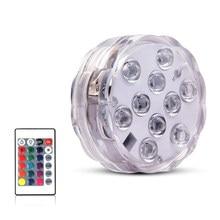 10 LED zdalnie sterowany RGB podwodne oświetlenie IP68 zasilanie bateryjne podwodne lampka nocna wazon miska na zewnątrz dekoracje na przyjęcie ogrodowe