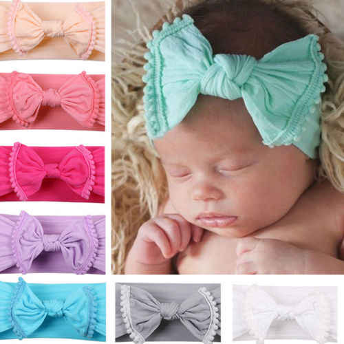 Kids Girls Toddler Big Bow Turban Hairwear Head Wear Baby Girl Cotton Princess Knotted Headband Hair Band Accessories Headwear